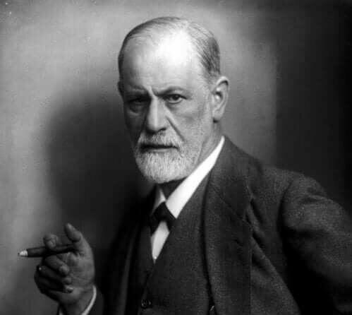 Een zwartwit afbeelding van Sigmund Freud
