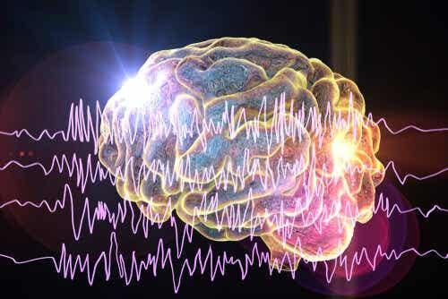 Een afbeelding van de hersenen met daaroverheen elektrische pieken
