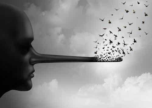 Een persoon met een lange neus waaruit vogels vliegen