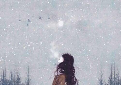 Een tekening van een vrouw die omhoog kijkt naar de lucht