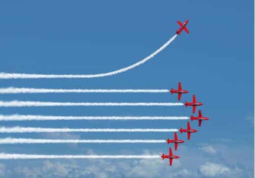 Eén vliegtuig doet iets anders dan de rest