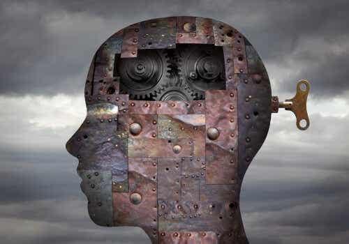 Een afbeelding van het hoofd vol mechanische onderdelen