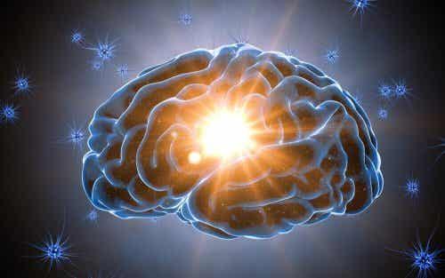 Een tekening van de hersenen met een licht dat uit het midden komt