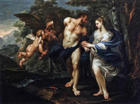 Een schilderij van Zeus en Demeter
