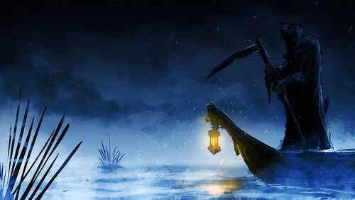 De dood op een bootje over de rivier Styx