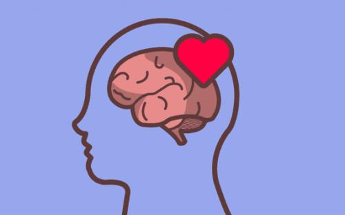 Een tekening van hersenen met een hartje in een omlijning van een hoofd